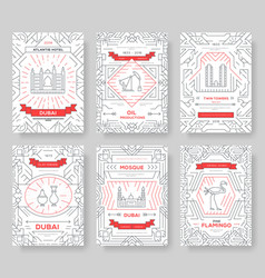 Dubai brochure cards thin line set country vector