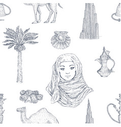 dubai hand drawn pattern vector image