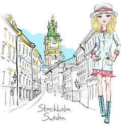 fashion girl in stockholm vector image