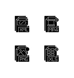 File types black glyph icons set on white space vector