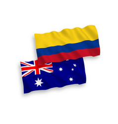 Flags australia and colombia on a white vector