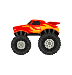 Flat icon of red monster truck with yellow vector