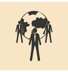 Flat in black white Earth and People vector image