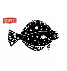 Flounder black and white vector
