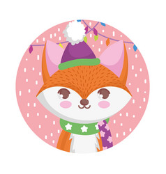 Fox with hat and scarf merry christmas vector