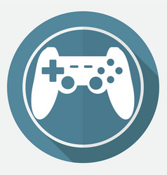 Game joypad icon on white circle with a long vector