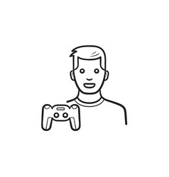 gamer and gamepad hand drawn outline doodle icon vector image