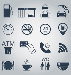 Gas station icons Fuel silhouette icons Monochrome vector image