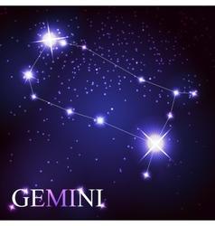 Gemini zodiac sign of the beautiful bright stars vector image