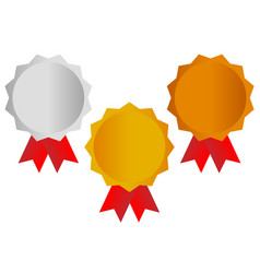 gold silver bronze awards medals with red ribbons vector image