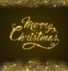Golden glitter christmas greeting inscription vector