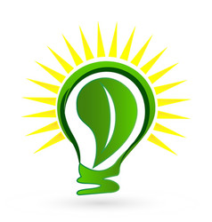 green eco light bulb leaf logo vector image