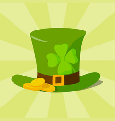 green material leprechaun hat with brown leather vector image