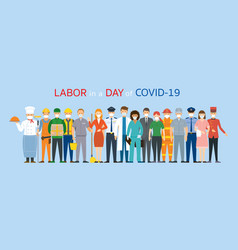 Group people labor worker wearing face mask vector