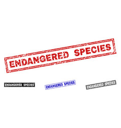 Grunge endangered species scratched rectangle vector
