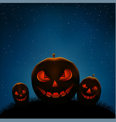 halloween pumpkins night vector image