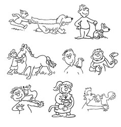 hand-drawn of animal trainer and vector image