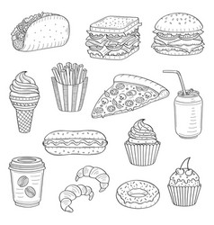 Hand drawn of fast food vector