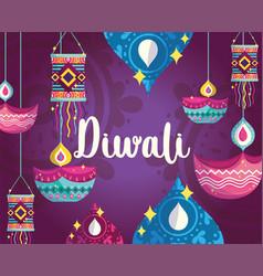 happy diwali festival purple background with diya vector image