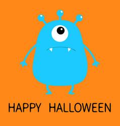 Happy halloween blue monster silhouette cute vector