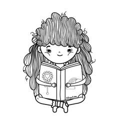 Happy little girl reading book vector
