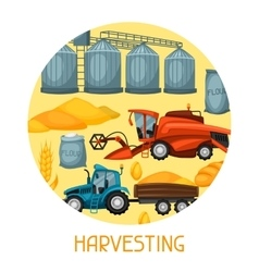 Harvesting background Combine harvester tractor vector