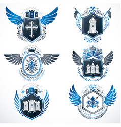 heraldic emblems with wings isolated on white vector image