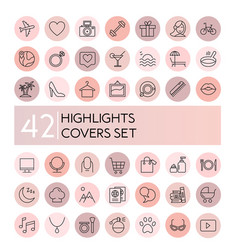 highlight icons set social vector image
