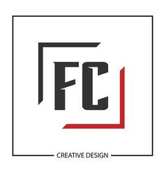 initial letter fc logo template design vector image