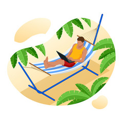 isometric young man working on beach with a vector image