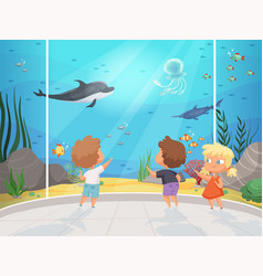 Kids in aquarium children with teacher in big vector