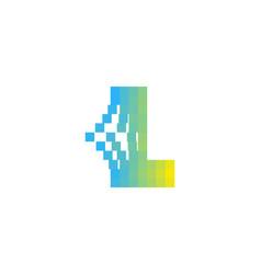 L letter pixel bit logo icon design vector