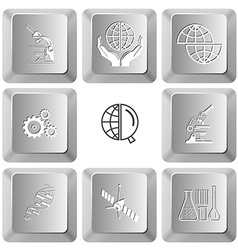 Lab microscope protection world shift globe gears vector