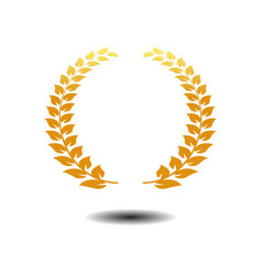 laurel wreath icon gold symbol icon on white vector image