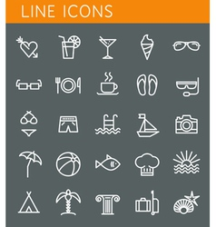 Line icons set Summer holidays vacation and travel vector image