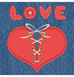 Love and heart with jeans background vector image