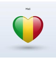 Love Mali symbol Heart flag icon vector