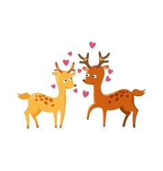 Lovely deers falling in love nature cute animal vector image
