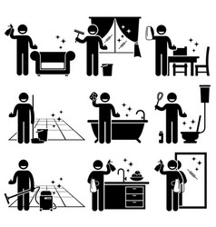 Man washing and cleaning house sofa windows vector