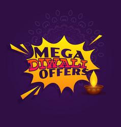 mega diwali festival offer sale banner design vector image