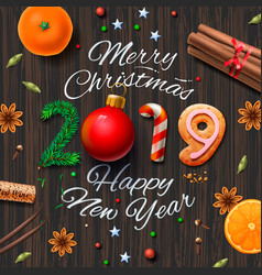 Merry christmas happy new year 2019 vintage vector