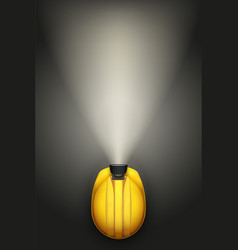 Miners helmet with lamp vector
