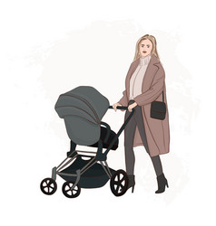 Mother with baby carriage walking on the street vector