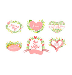 mothers day card templates set design element vector image