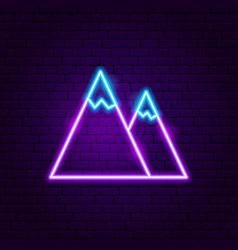 mountain neon label vector image