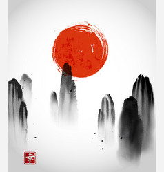 Mountains in fog and red sun hand drawn with ink vector