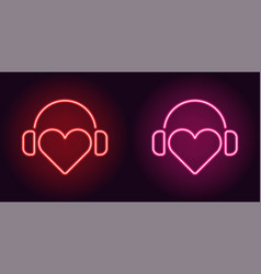 Neon heart with headphones in red and pink color vector