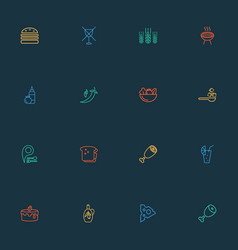 nutrition icons line style set with restaurant pin vector image