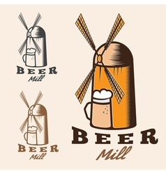 Old mill with beer mug vector