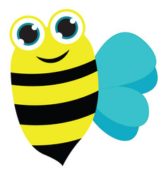 painting a smiling bee set on isolated white vector image